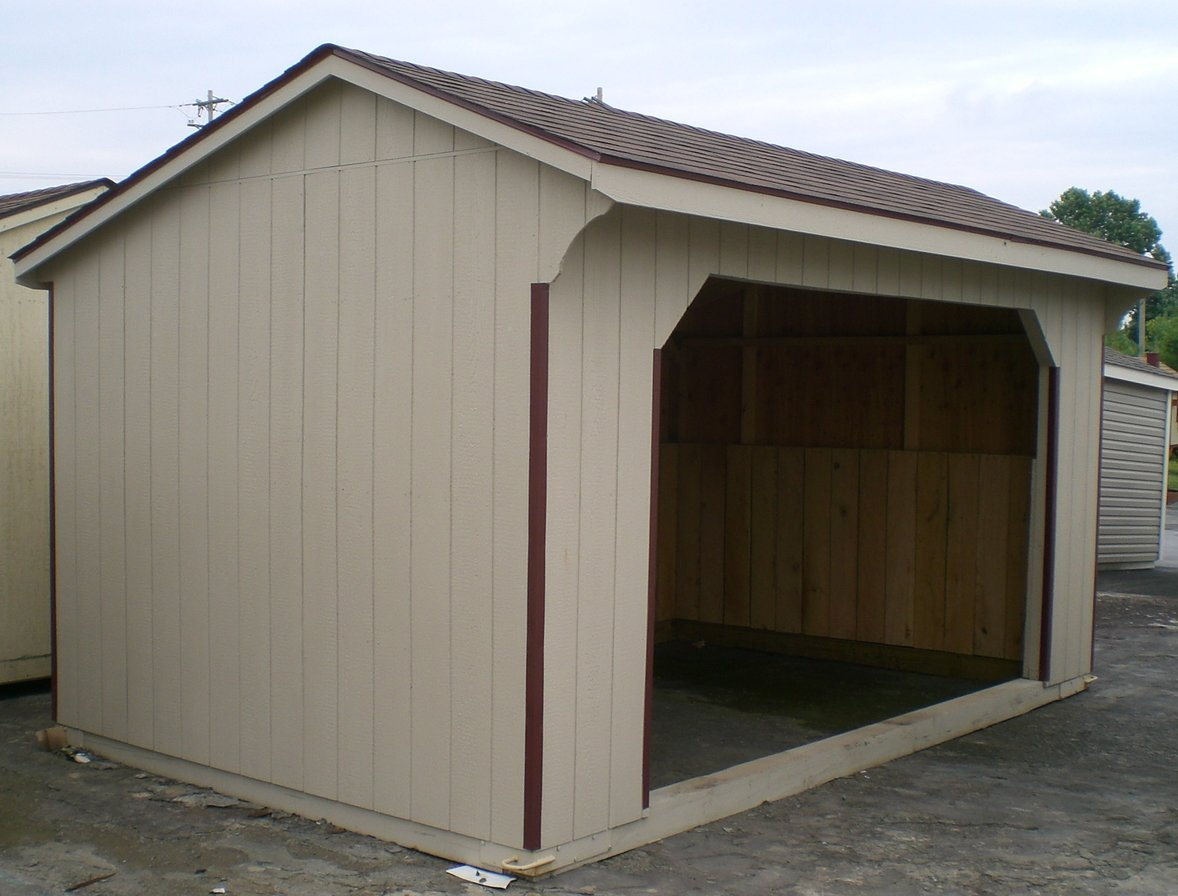 left 12x32 foot lp smartside shed row with 10 foot lean to and 6 foot tack room right 10x16 foot lp smartside run in shed click on either photo to see