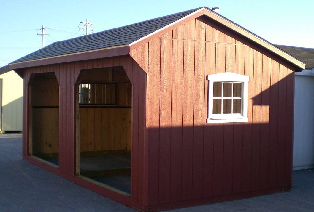 10x26 foot run in shet with 6 foot tack room with cupola - Garden Sheds Northern Virginia